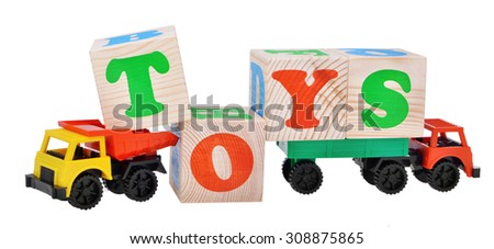 toy car trucks isolated with wooden cubes isolated on  white background - stock photo