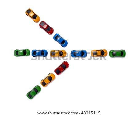 toy cars in a row isolated on white background with clipping path