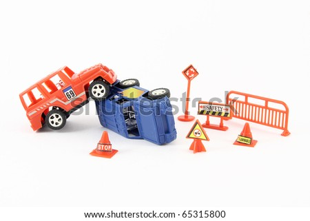 Toy cars in an accident