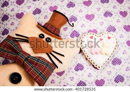 toy cat hat bow tie on stock photo royalty free 401728531