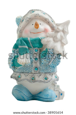 Toy Christmas snowman isolated on a white background