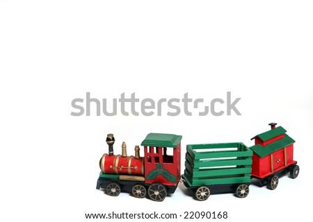 Toy Christmas Train isolated on white background. - stock photo