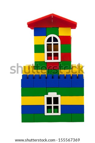 toy colorful  house isolated on a white background - stock photo