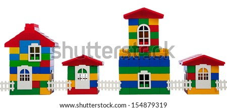toy colorful  houses isolated on a white background - stock photo