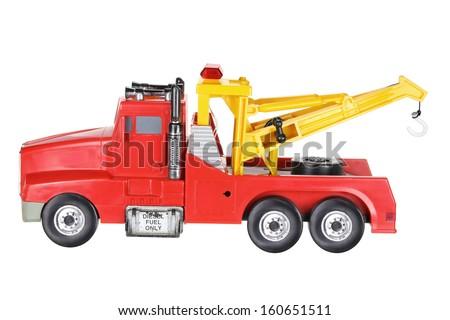 Toy Crane on White Background - stock photo