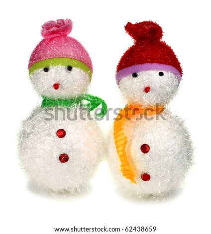 toy decoration snowman isolated on white background - stock photo