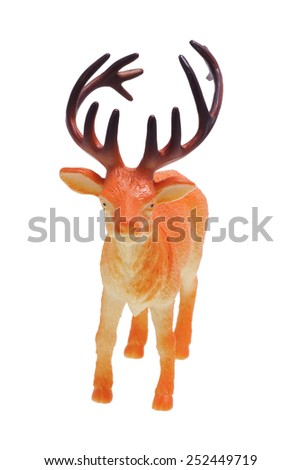 Toy deer. Frontal. Isolated on white.                                 - stock photo