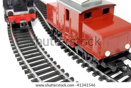 Toy Diesel Locomotive and Steam Train - stock photo