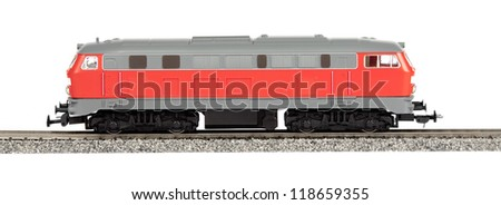 toy Diesel Locomotive isolated over white background - stock photo