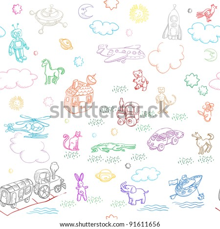 toy doodles pattern for boys and girls isolated on white - stock photo