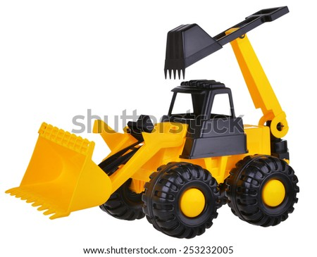 Toy Earth mover excavator on White Background
