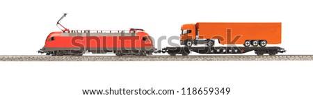 toy Electic Locomotive isolated over white background - stock photo