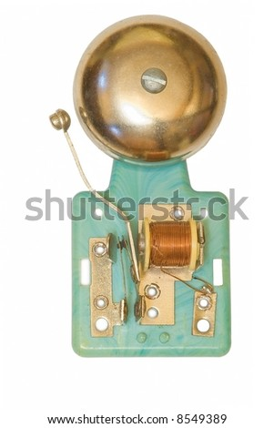 Toy electric bell  on white background