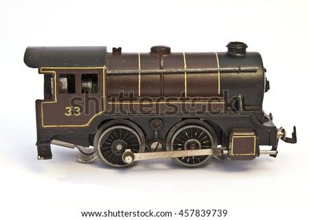 Toy Electric Model Train on White Background