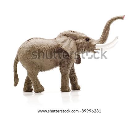 toy elephant, isolated on a white background - stock photo