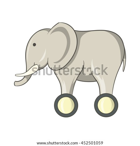 Toy elephant on wheels icon in cartoon style isolated on white background. Games and toys symbol - stock photo