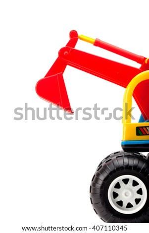 Toy excavator isolated on white background - stock photo