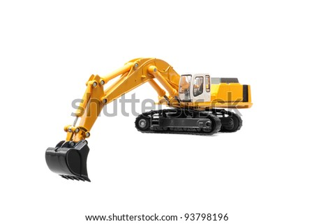 toy excavator isolated over white background - stock photo