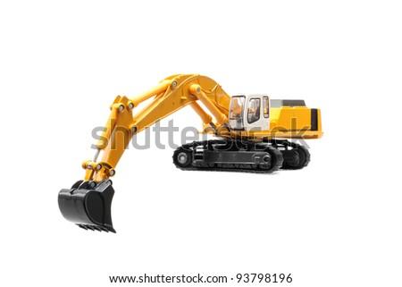 toy excavator isolated over white background - stock photo