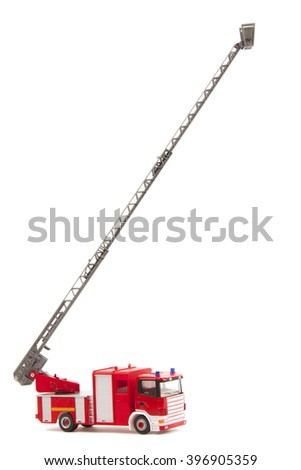 toy firetruck with ladder extended on white background - stock photo