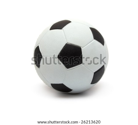 Toy football on a white background - stock photo