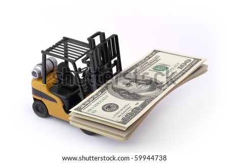Toy fork lift with 100 dollar