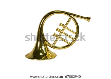 toy french horn ornament isolated with clipping path at this size - stock photo