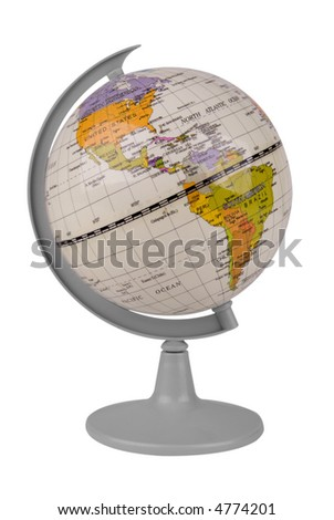 Toy globe isolated over a white background with a clipping path