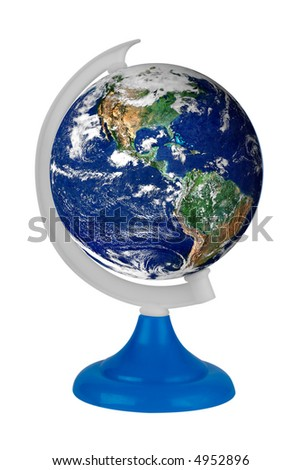 Toy globe with the real earth isolated over a white background with a clipping path