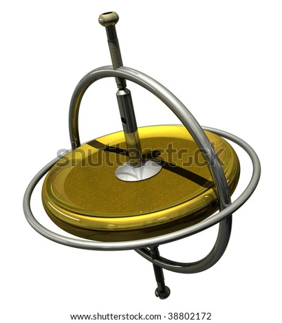 Toy Gyroscope gravitating to tipping point - stock photo