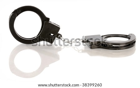 toy handcuffs with reflection on white background - stock photo