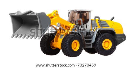 toy heavy bulldozer on a white background - stock photo