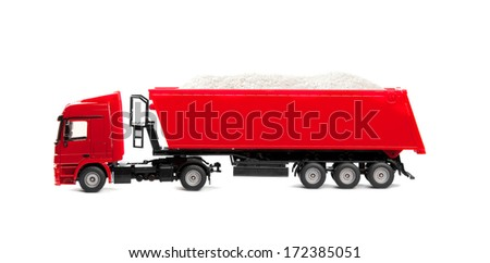 toy heavy truck isolated over white background - stock photo