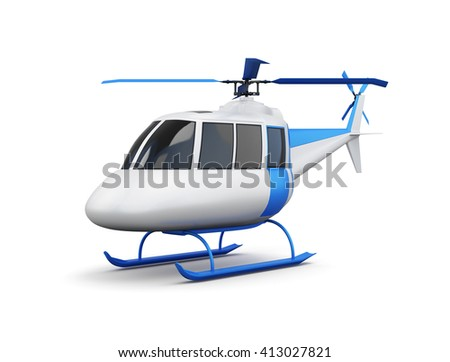 Toy helicopter isolated on white background. 3d render image. - stock photo