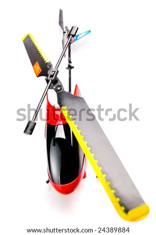 Toy helicopter on white background - stock photo