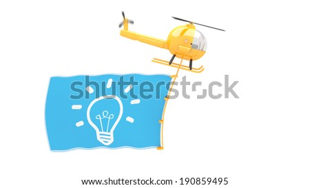 toy helicopter with idea flag for use in presentations, manuals, design, etc. - stock photo