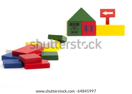 toy home construction close up