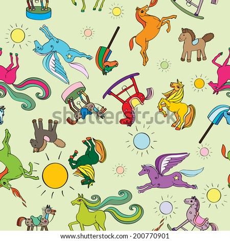 Toy horses seamless pattern, hand drawn doodle illustrations of a series of happy baby animals over a green background - stock photo