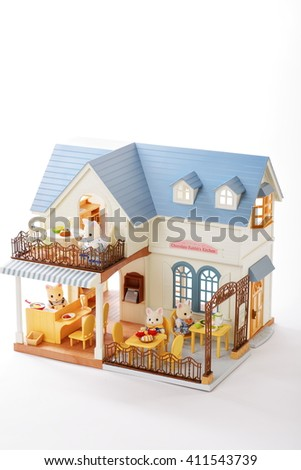 toy house cafe with animals