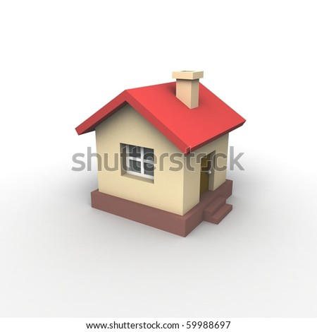 Toy house. 3d illustration. - stock photo