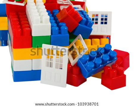 Toy house isolated on white background