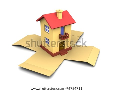 Toy house on the open box. 3d illustration.