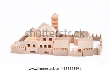 Toy House Wood block cubes - stock photo