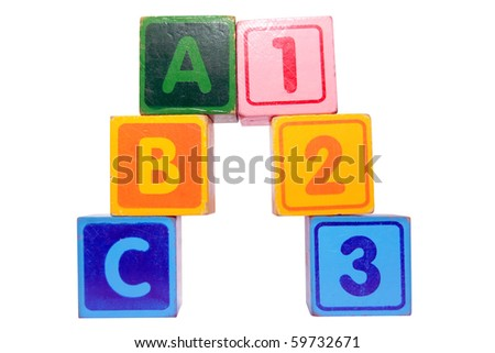 toy letter and number blocks against a white background that spell abc 123 with clipping path - stock photo