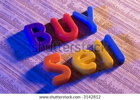 Toy Letters on stock report - stock photo