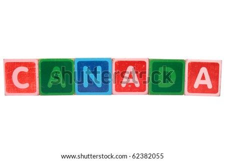 toy letters that spell canada against a white background with clipping path - stock photo
