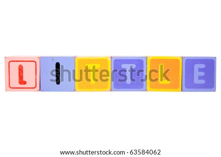 toy letters that spell little against a white background with clipping path - stock photo