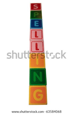 toy letters that spell spelling against a white background with clipping path - stock photo