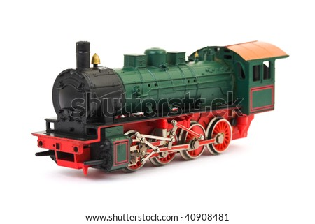 Toy locomotive isolated on white background - stock photo