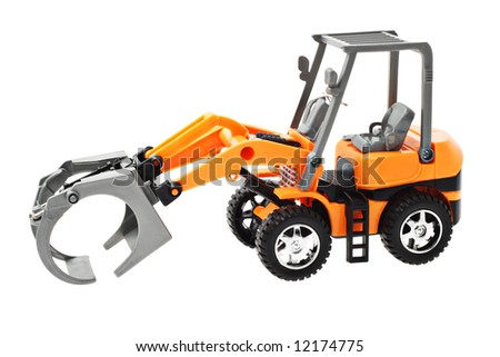 Toy model of grapple loader tractor on white background